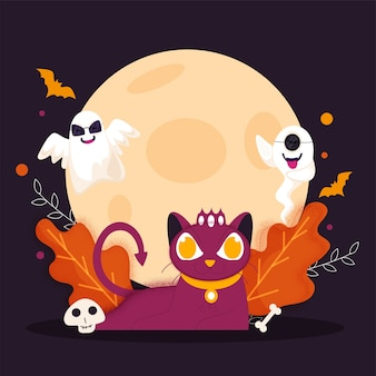 Illustrazione del gatto spaventoso con fantasmi del fumetto, teschio, osso, pipistrelli volanti, foglie ed effetto rumore su sfondo viola luna piena per happy halloween.