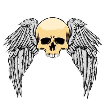 Illustrazione del teschio morto spaventoso con grandi ali