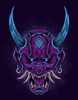 Illustrazione spaventosa maschera demone giapponese