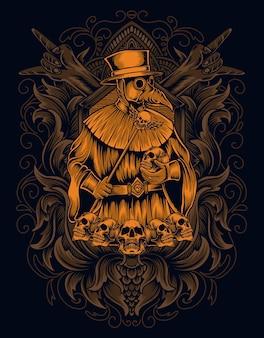 Illustrazione spaventoso medico della peste con teschio su ornamento incisione