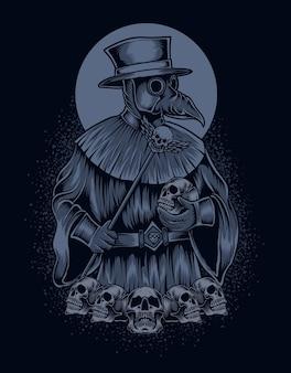Illustrazione spaventoso medico della peste con teschio