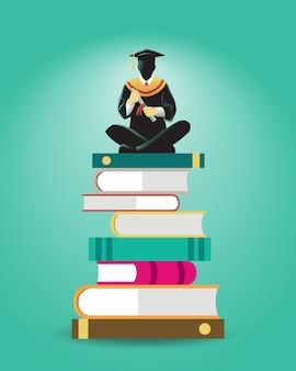 Illustrazione di uno studioso sedersi su una pila di grandi libri