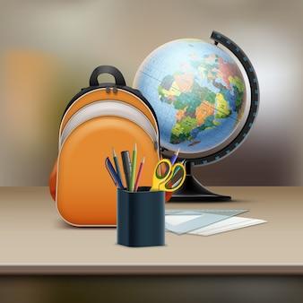 Illustrazione della borsa di scuola con globo terrestre e cartolerie su tavola di legno