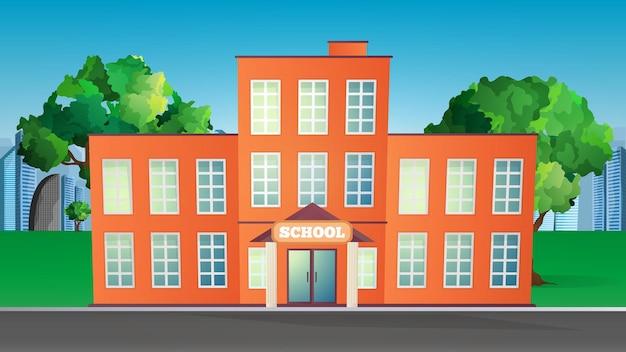 Illustrazione di un edificio scolastico. scuola in uno stile piatto.