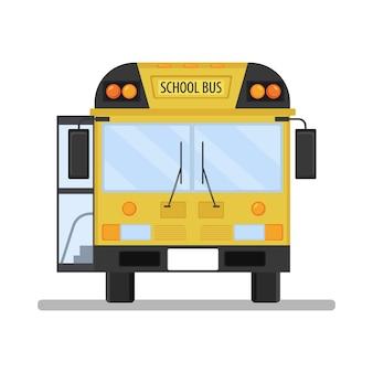 Illustrazione di una vista frontale dello scuolabus con una porta aperta.