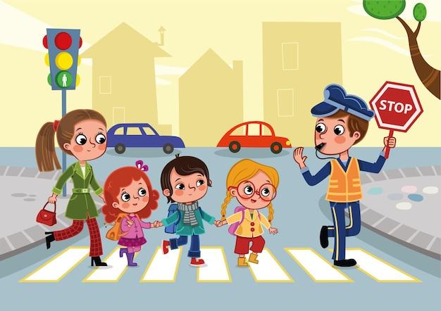 Illustrazione di bambini in età scolare che attraversano la strada con l'aiuto della guardia di attraversamento che tiene il segnale di stop