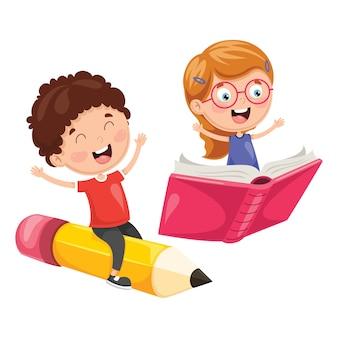 Illustrazione degli scolari che volano