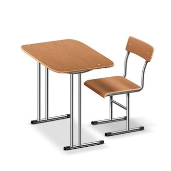 Illustrazione del banco di scuola e sedia, vista laterale prospettica. isolato su sfondo bianco Vettore Premium