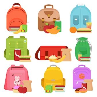 Illustrazione di bambini in età scolare e scatole di cibo per il pranzo