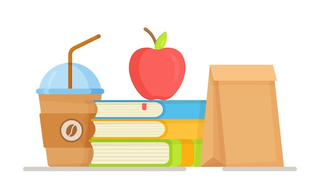 Illustrazione di un pranzo scolastico. sacco per il pranzo . uno spuntino veloce a scuola