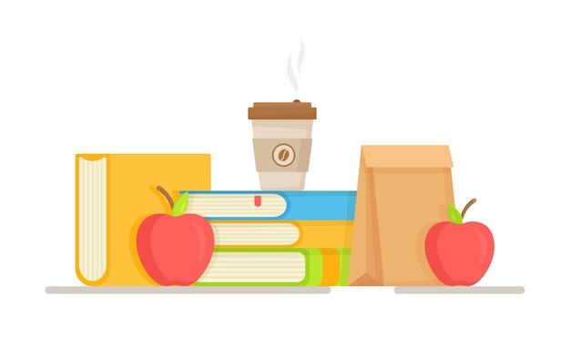 Illustrazione di un pranzo scolastico. uno spuntino veloce a scuola. pasto veloce a scuola o all'università.
