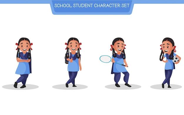 Illustrazione del set di caratteri degli studenti della scuola