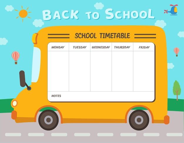 Illustrazione modello di progettazione scuola timtable con sfondo scuolabus.