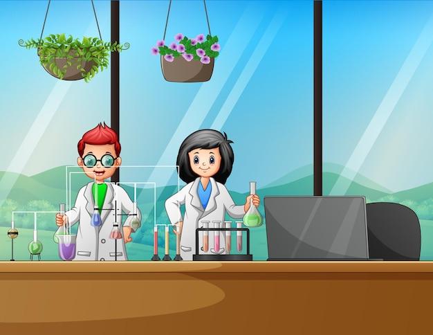 Illustrazione degli scienziati in laboratorio