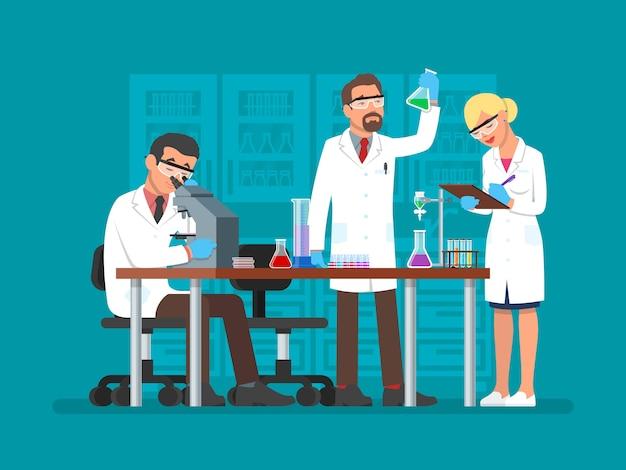Illustrazione di scienziati che lavorano nel laboratorio di scienze, stile piano