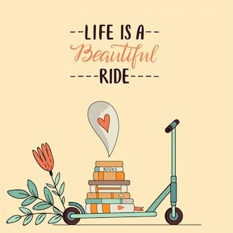 Illustrazione di scooter e libri su sfondo isolato