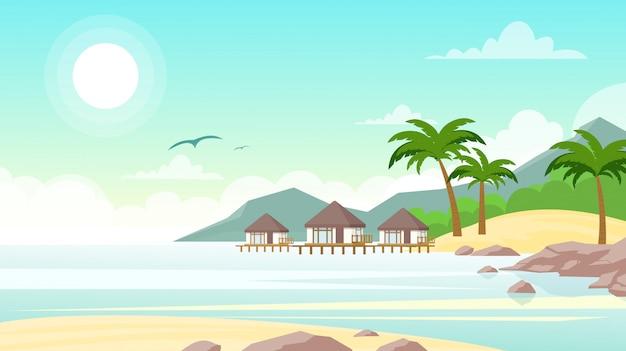 Illustrazione della spiaggia del mare con hotel. belle villette sul mare. paesaggio estivo, concetto di vacanza in stile piano.
