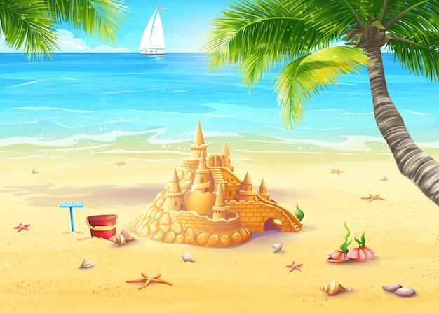 Illustrazione della riva del mare con palme, conchiglie e castelli di sabbia