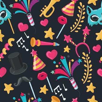 Illustrazione seamless pattern di oggetti di partito, carta da parati per le vacanze -
