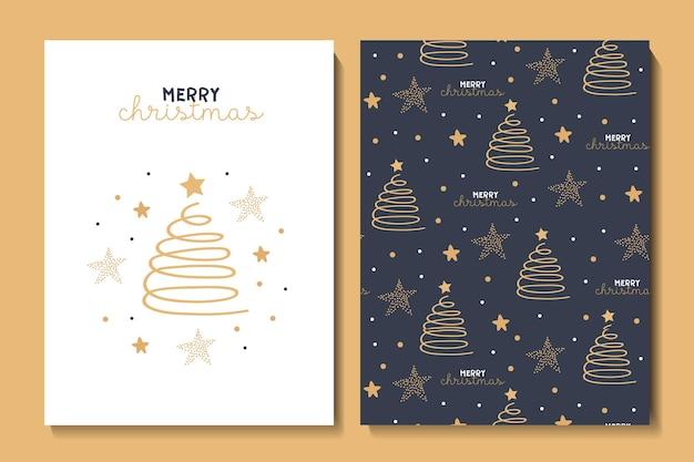Illustrazione e modello senza cuciture con simpatiche stelle e fiocchi di neve dell'albero di natale