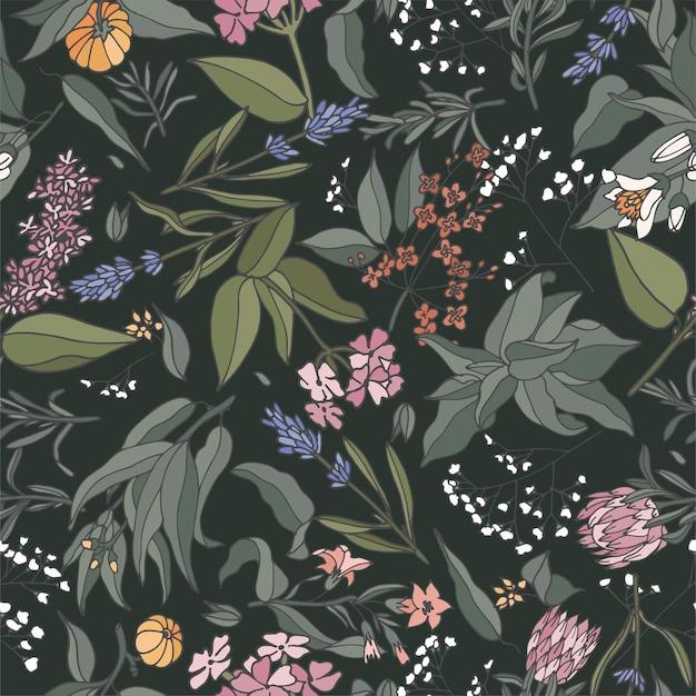 Reticolo senza giunte dell'illustrazione con piante, erbe e fiori.