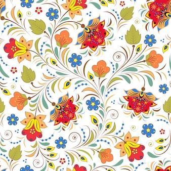 Illustrazione del modello senza soluzione di continuità con il tradizionale ornamento floreale russo.