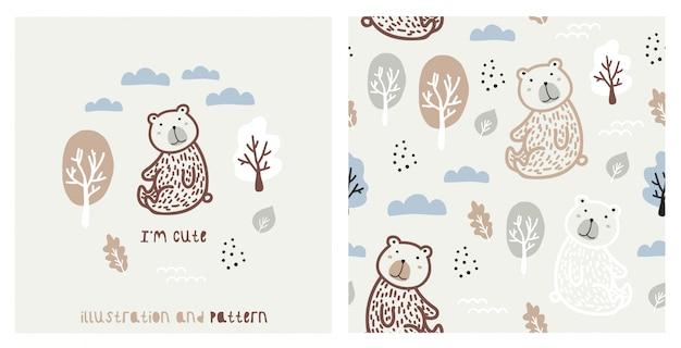 Illustrazione e seamless pattern di boschi con simpatico orso.