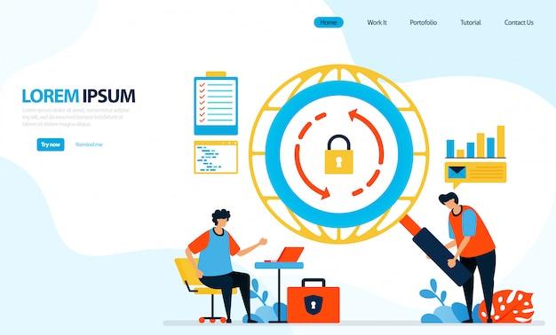 Illustrazione dei controlli di sicurezza sulle reti internet. icona di ricarica. garantire e proteggere l'accesso a internet.