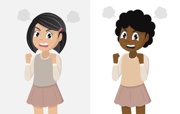 Insieme dell'illustrazione della condizione arrabbiata della ragazza
