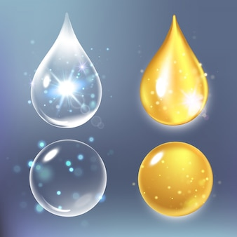 Illustrazione di set gocce di collagene, acqua, acido ialuronico trasparente.