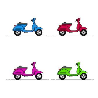 Illustrazione di set di scooter classici colorati