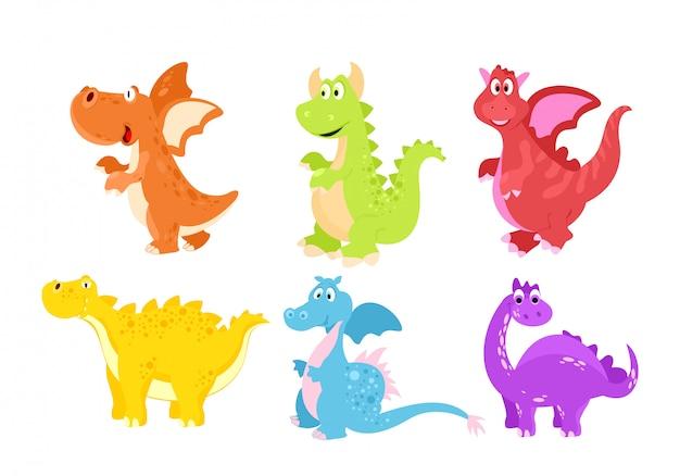 Insieme dell'illustrazione dei dinosauri divertenti variopinti nello stile piano del fumetto.
