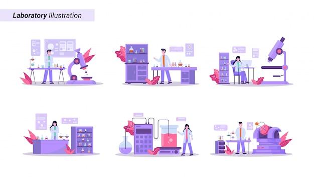Insieme dell'illustrazione di condurre la ricerca sanitaria in un laboratorio moderno e di qualità