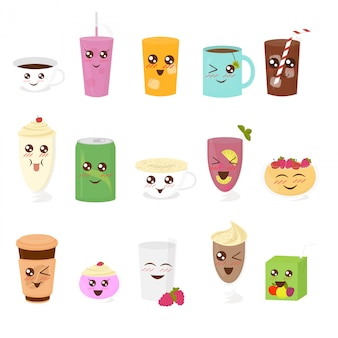 Set di illustrazione di bevande carini in stile cartone animato piatto. tazza di tè, cioccolata calda, latte, caffè, frullato, succo di frutta, frappè, limonata.