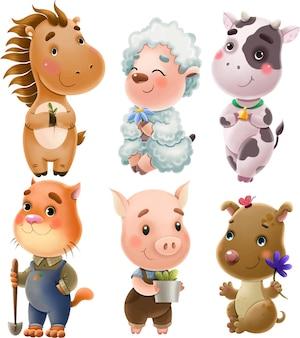 Set di illustrazione di simpatici animali da fattoria