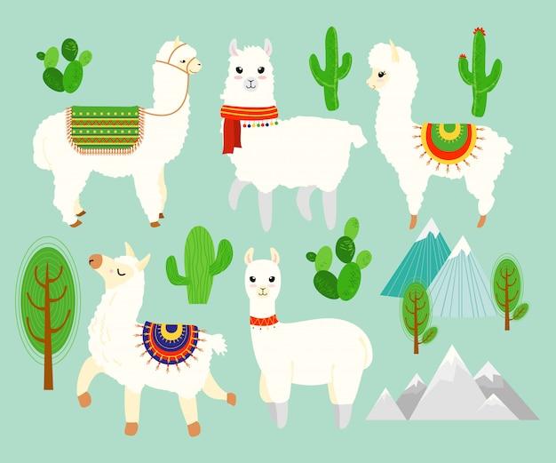 Insieme dell'illustrazione delle alpache e dei lama divertenti svegli con gli elementi del cactus, montagne su fondo blu. belle lama in stile cartone animato piatto.