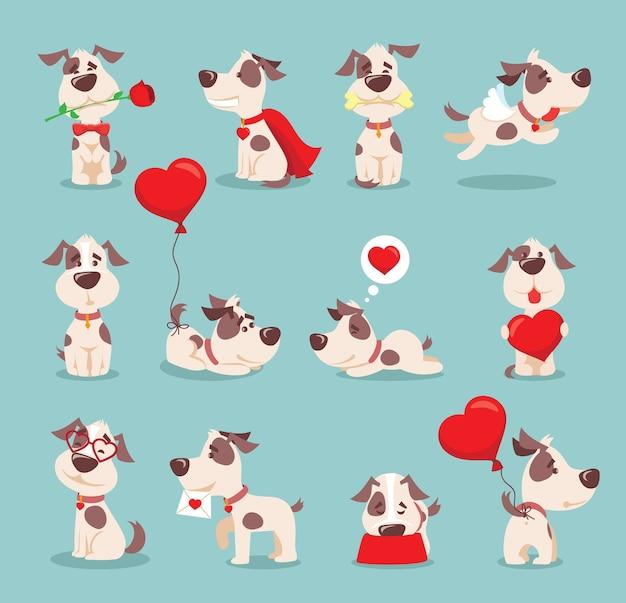 Illustrazione set di simpatici e divertenti cartoni animati piccoli cani-cuccioli in stile piatto