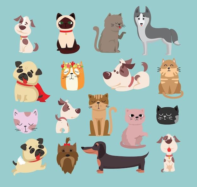 Illustrazione set di simpatici e divertenti personaggi di animali da compagnia dei cartoni animati. diverse razze di cani e gatti