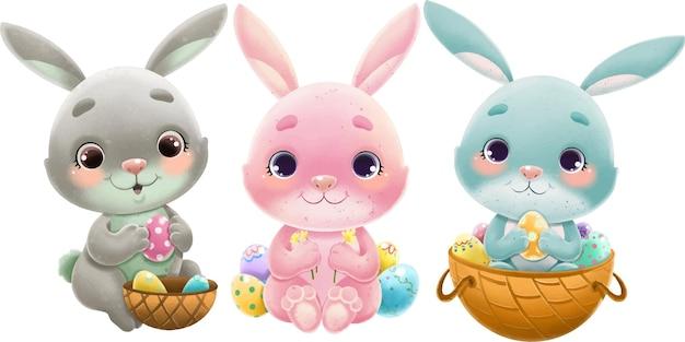 Set di illustrazione di simpatici coniglietti pasquali multicolori con cestini. isolato su bianco.