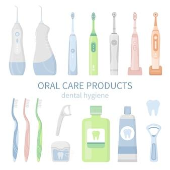 Insieme dell'illustrazione di strumenti di pulizia dentale e igiene orale