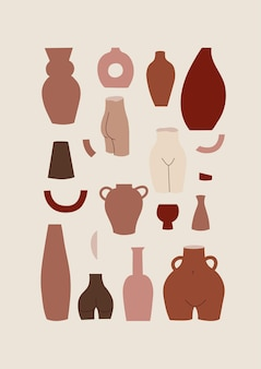 Set di illustrazione di diverse forme di vasi decorativi e pentole in colori pastello
