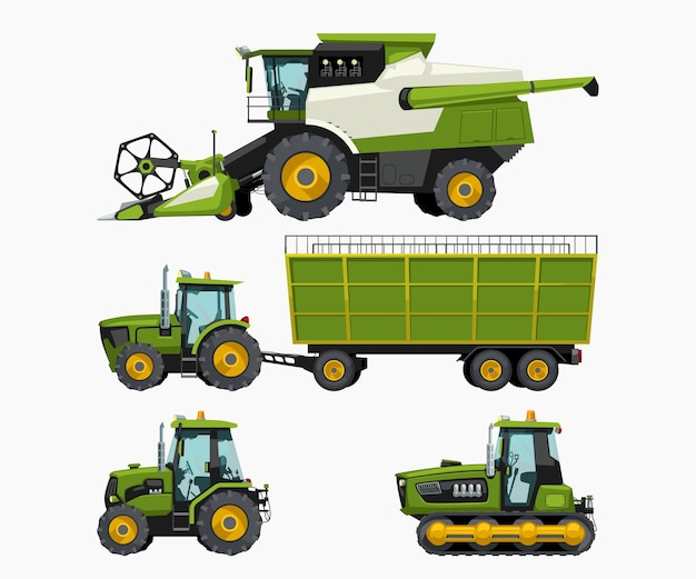 Illustrazione del set di veicoli agricoli vista laterale isolata su bianco