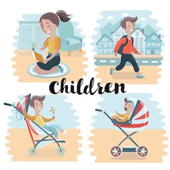 Illustrazione del set di bambini felici in diverse situazioni