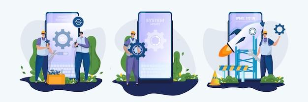 Set di illustrazioni del concetto di manutenzione degli aggiornamenti software mobili