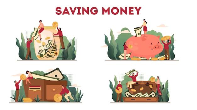 Insieme dell'illustrazione del concetto di protezione dei soldi, conservazione del risparmio. idea di ricchezza economica e finanziaria. risparmio di valuta. caduta della moneta dorata e dollari nel salvadanaio e nel portafoglio.