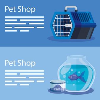 Set di illustrazione del negozio di animali ed elementi