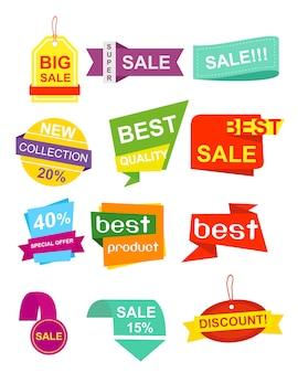 Illustrazione imposta etichette pf, adesivi. collezione colorata e luminosa di sconto vendita banner origami in stile, emblemi in design piatto.