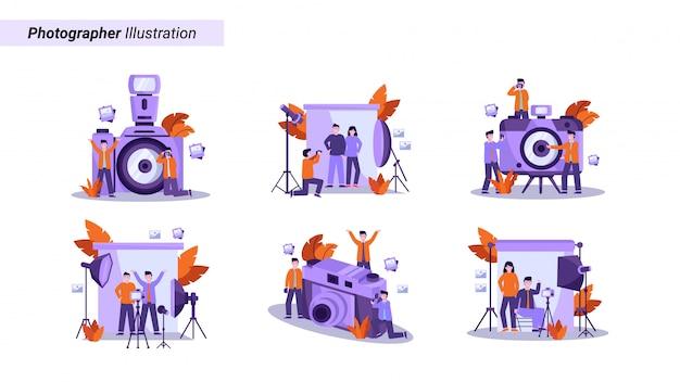 Set di illustrazione del fotografo prepara l'attrezzatura e scatta una foto del modello professionalmente