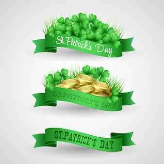 Illustrazione set di banner di san patrizio day con trifoglio e monete