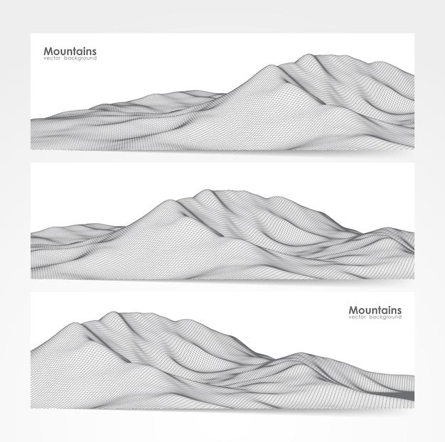 Illustrazione: set di tre layout di banner con paesaggio di montagne wireframe.